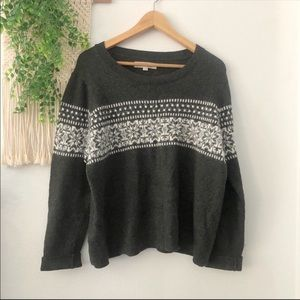 LOFT Cotton Wool Blend Scoop Neck Sweater XL